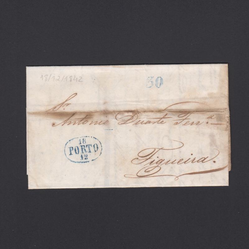 Pré-Filatélica circulada do Porto para Figueira datada 18-12-1842