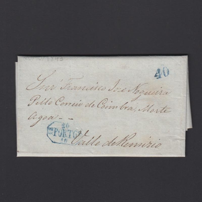 Pré-Filatélica circulada do Porto para Vale de Remigio datada 20-10-1843