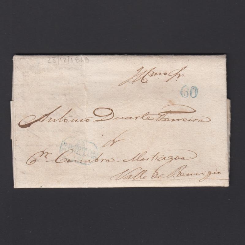 Pré-Filatélica circulada do Porto para Vale de Remigio datada 23-12-1849