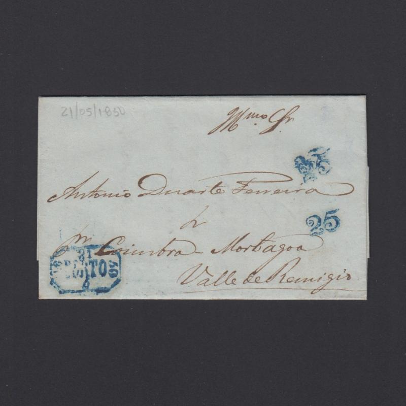 Pré-Filatélica circulada do Porto para Vale de Remigio datada 21-05-1850