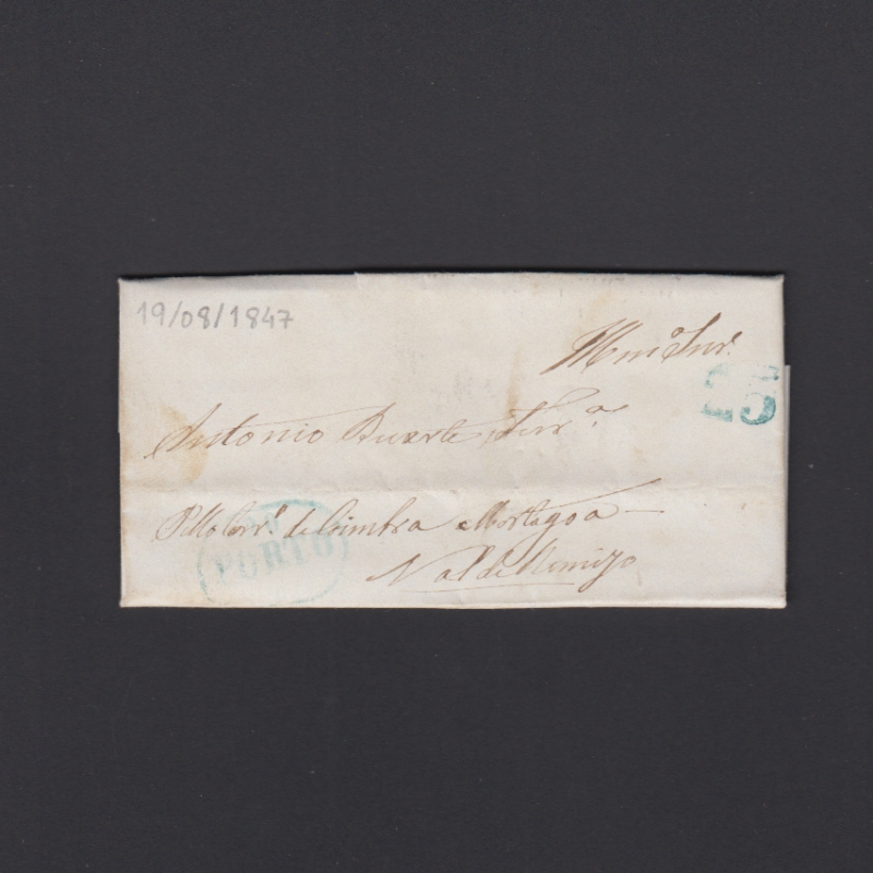 Pré-Filatélica circulada do Porto para Vale de Remigio datada 19-08-1847