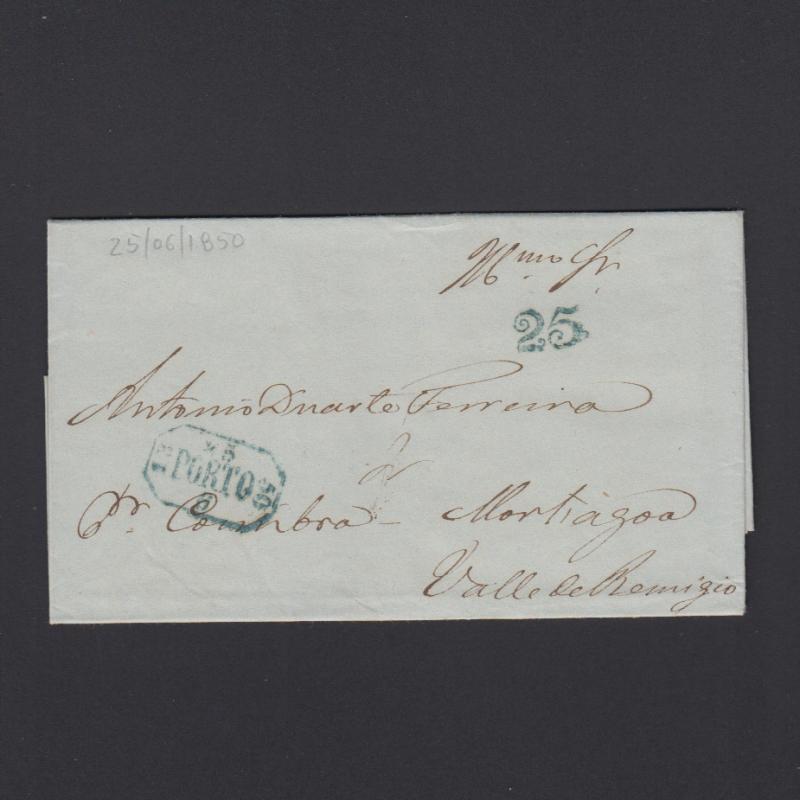 Pré-Filatélica circulada do Porto para Vale de Remigio datada 25-06-1850