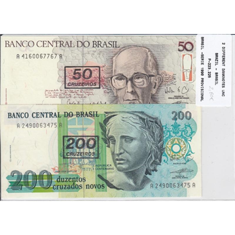 BRASIL - LOTE DE 2 NOTAS DIFERENTES-SERIE 1990 ( NÃO CIRCULADA )