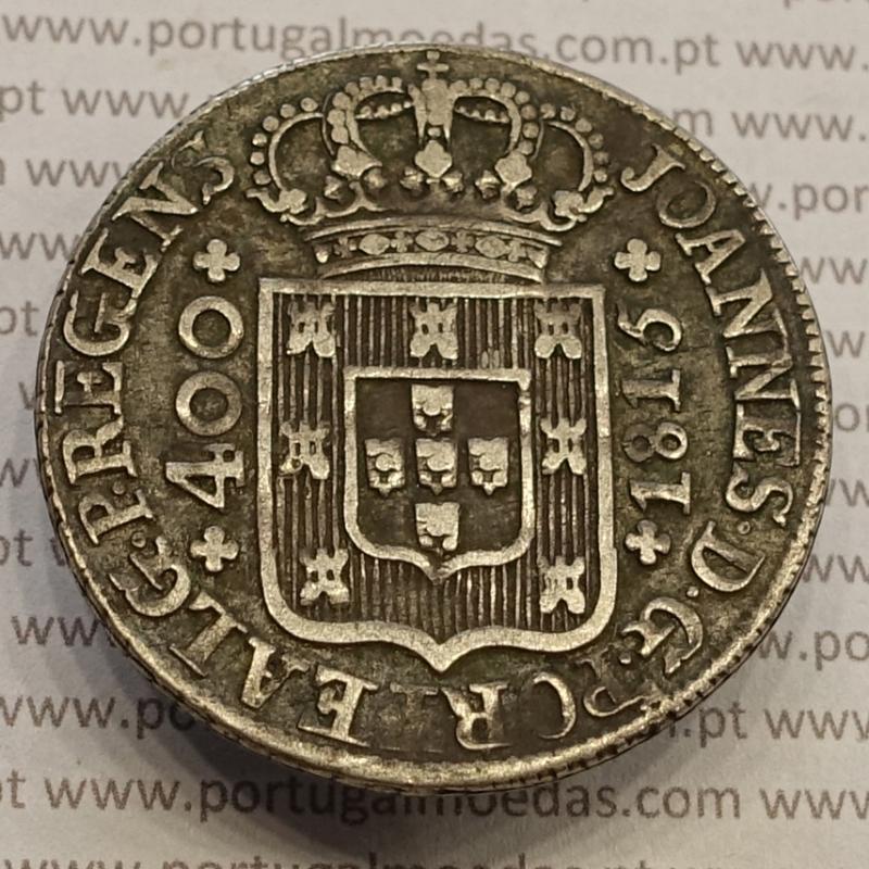 CRUZADO NOVO PRATA (480 RÉIS) 1815 - VARIANTES, COROA MÉDIA  LEGENDA SEM PONTOS