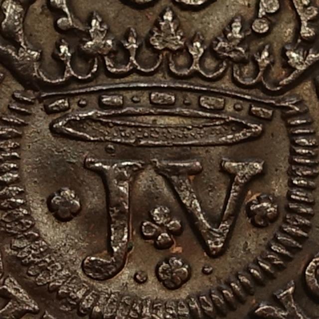 MOEDA III RÉIS COBRE 1714 D. JOÃO V - (VARIANTE RARA)