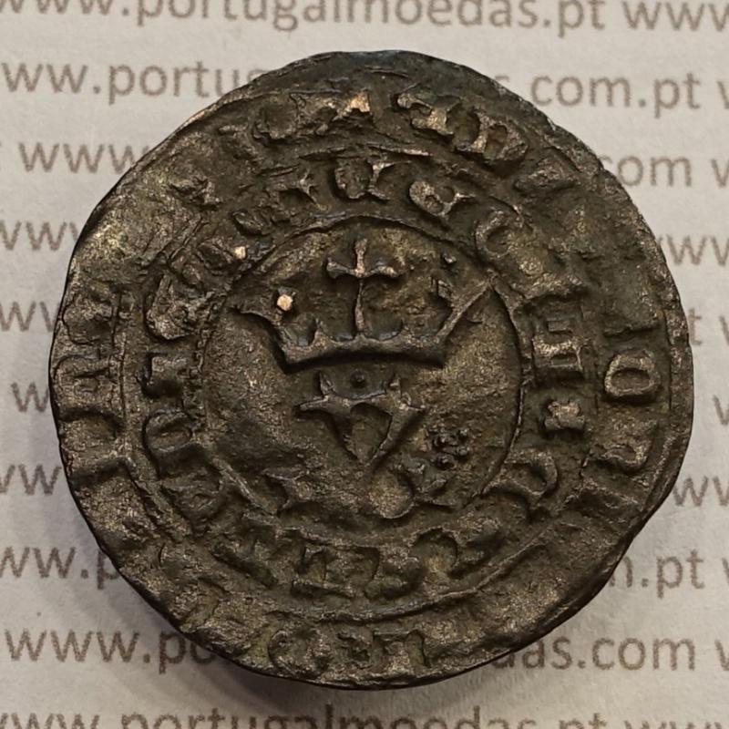 MOEDA REAL BRANCO BOLHÃO D. JOÃO I (1385-1433) SINAL OCULTO Á DIREITA E PONTO SOBRE A COROA