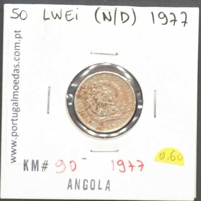 MOEDA DE 50 LWEI CUPRO-NÍQUEL NÃO DATADA (1977) REPÚBLICA POPULAR DE ANGOLA - KRAUSE WORLD COINS ANGOLA KM90