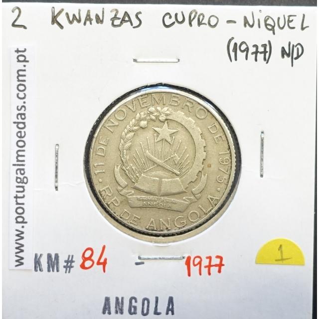 MOEDA DE 2 KWANZAS CUPRO-NÍQUEL NÃO DATADA (1977) REPÚBLICA POPULAR DE ANGOLA - KRAUSE WORLD COINS ANGOLA KM84