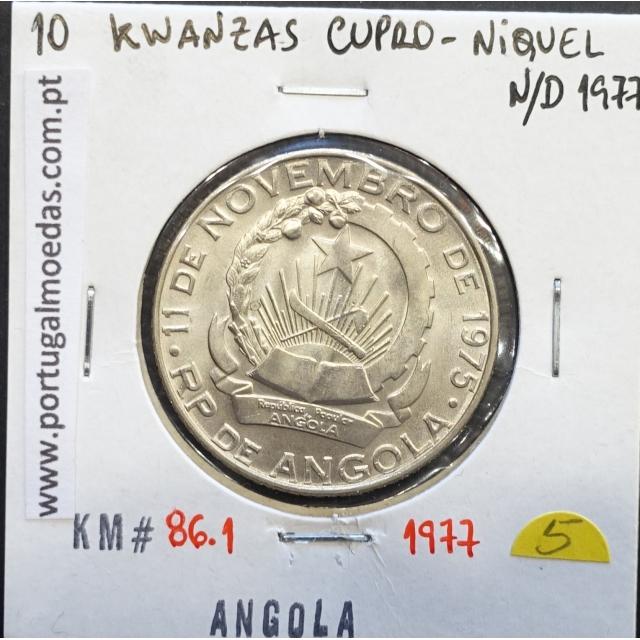MOEDA DE 10 KWANZAS CUPRO-NÍQUEL NÃO DATADA (1977) REPÚBLICA POPULAR DE ANGOLA - KRAUSE WORLD COINS ANGOLA KM86.1