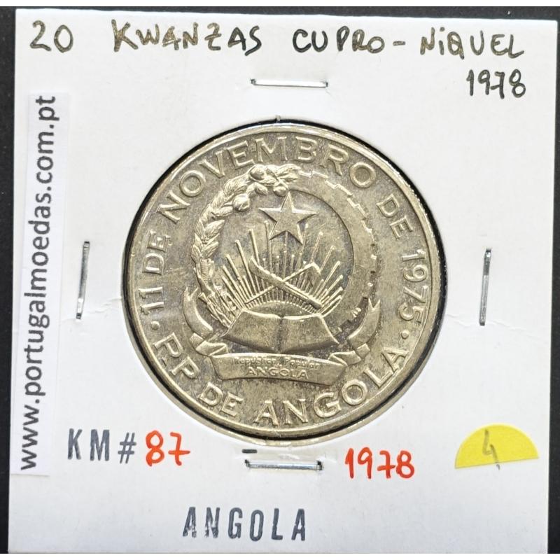 MOEDA DE 20 KWANZAS CUPRO-NÍQUEL 1978 REPÚBLICA POPULAR DE ANGOLA - KRAUSE WORLD COINS ANGOLA KM87