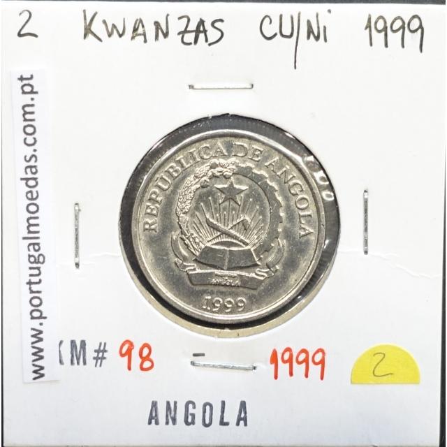 MOEDA DE 2 KWANZAS CUPRO-NÍQUEL 1999 REPÚBLICA POPULAR DE ANGOLA - KRAUSE WORLD COINS ANGOLA KM98