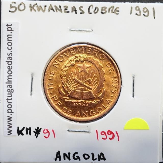 MOEDA DE 50 KWANZAS COBRE 1991 REPÚBLICA POPULAR DE ANGOLA - KRAUSE WORLD COINS ANGOLA KM91