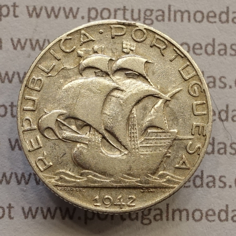 MOEDA 2$50 ESCUDOS (DOIS ESCUDOS E CINQUENTA CENTAVOS) PRATA 1942 (BC+) -  REPÚBLICA PORTUGUESA