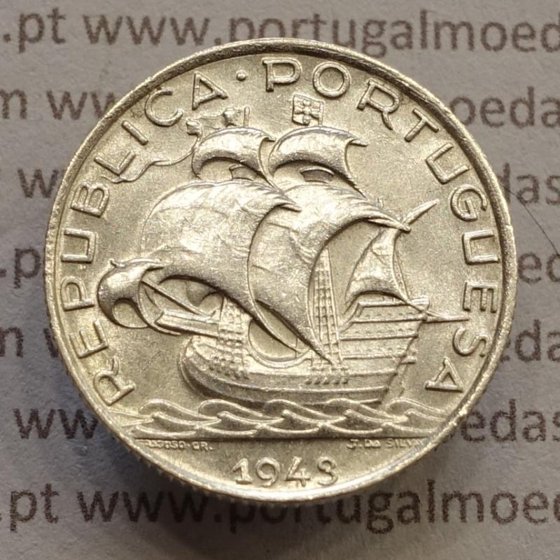 MOEDA 2$50 ESCUDOS (DOIS ESCUDOS E CINQUENTA CENTAVOS) PRATA 1943 (BELA / SOBERBA) -  REPÚBLICA PORTUGUESA