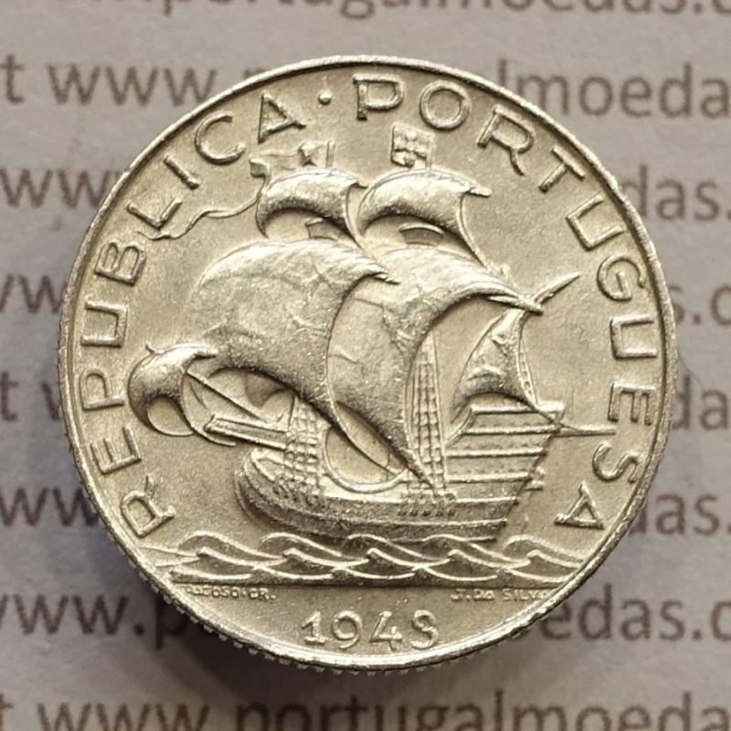 MOEDA 2$50 ESCUDOS (DOIS ESCUDOS E CINQUENTA CENTAVOS) PRATA 1943 (BELA) -  REPÚBLICA PORTUGUESA