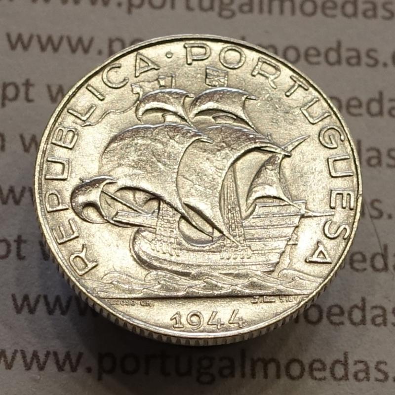 MOEDA 2$50 ESCUDOS (DOIS ESCUDOS E CINQUENTA CENTAVOS) PRATA 1944 (BELA) -  REPÚBLICA PORTUGUESA