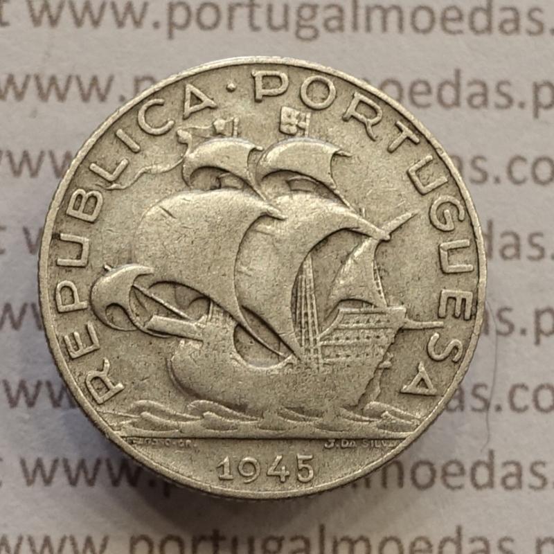 MOEDA 2$50 ESCUDOS (DOIS ESCUDOS E CINQUENTA CENTAVOS) PRATA 1945 (BC) -  REPÚBLICA PORTUGUESA