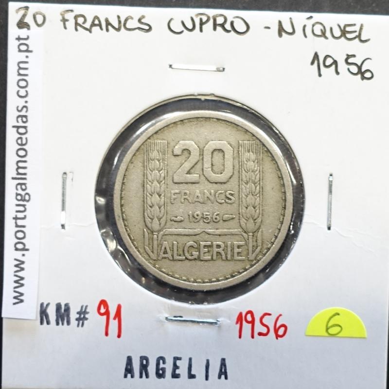 MOEDA DE 20 FRANCOS CUPRO-NÍQUEL 1956 - ARGÉLIA - KRAUSE WORLD COINS ALGERIA KM 91