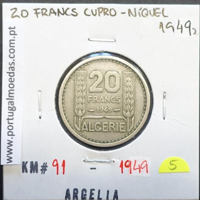 MOEDA DE 20 FRANCOS CUPRO-NÍQUEL 1949 - ARGÉLIA - KRAUSE WORLD COINS ALGERIA KM 91
