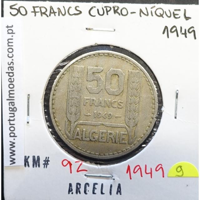 MOEDA DE 50 FRANCOS CUPRO-NÍQUEL 1949 - ARGÉLIA - KRAUSE WORLD COINS ALGERIA KM 92