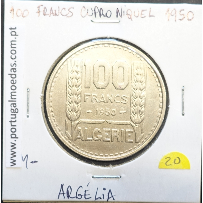 MOEDA DE 100 FRANCOS CUPRO-NÍQUEL 1950 - ARGÉLIA - KRAUSE WORLD COINS ALGERIA KM 93