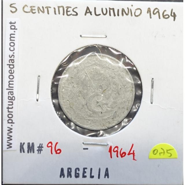 MOEDA DE 5 CENTIMOS ALUMINÍO 1964 - ARGÉLIA - KRAUSE WORLD COINS ALGERIA KM 96