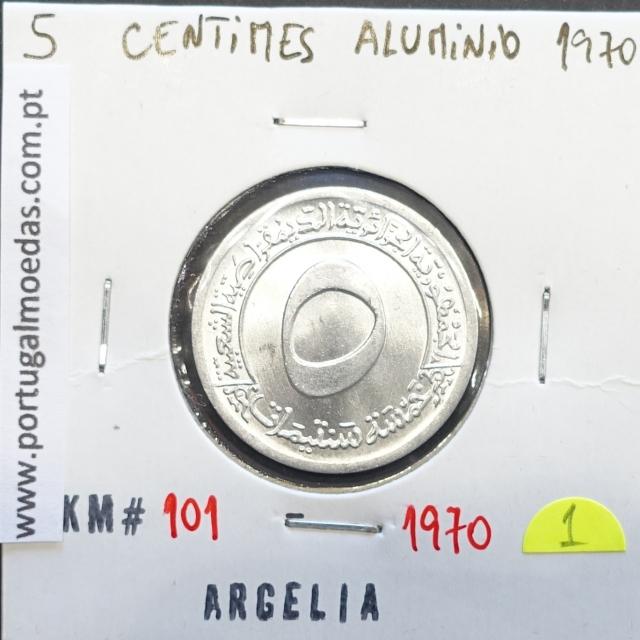 MOEDA DE 5 CÊNTIMOS ALUMÍNIO 1970 - ARGÉLIA - KRAUSE WORLD COINS ALGERIA KM 101