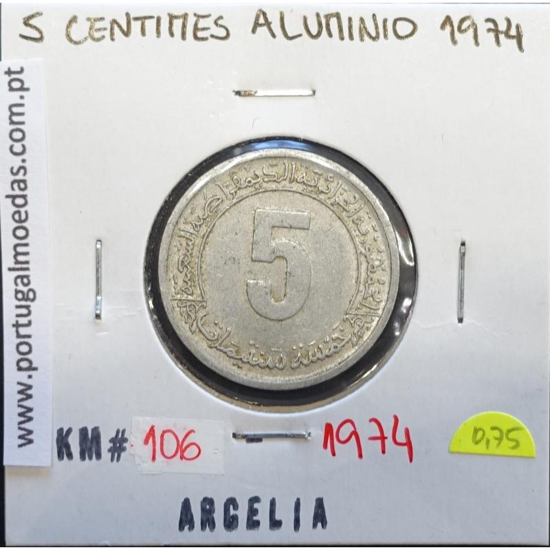 MOEDA DE 5 CÊNTIMOS ALUMÍNIO 1974 - ARGÉLIA - KRAUSE WORLD COINS ALGERIA KM 106