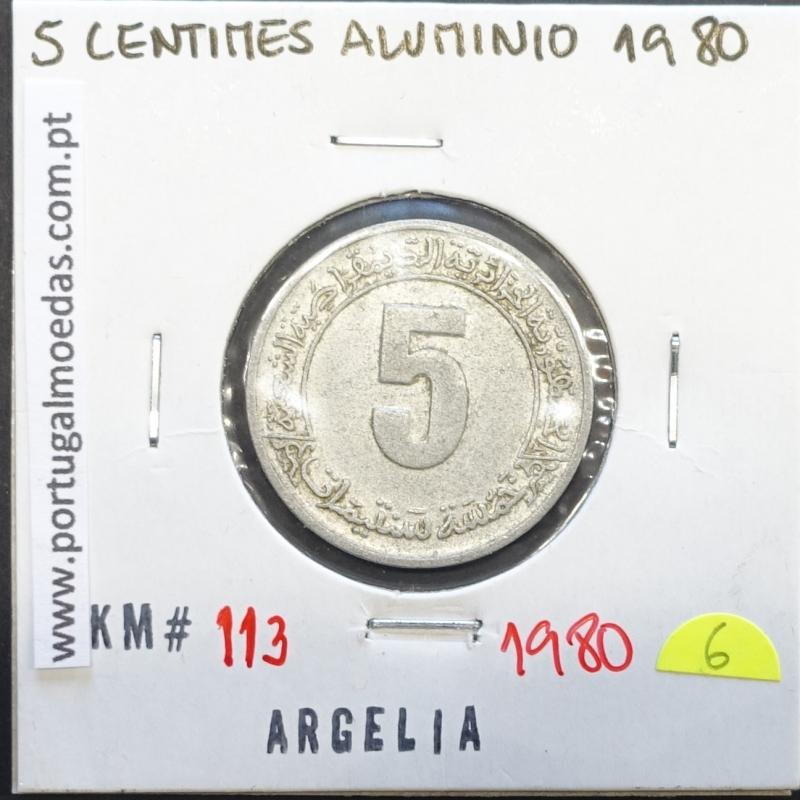 MOEDA DE 5 CÊNTIMOS ALUMÍNIO 1980 - ARGÉLIA - KRAUSE WORLD COINS ALGERIA KM 113