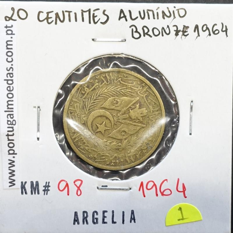 MOEDA DE 20 CÊNTIMOS BRONZE ALUMÍNIO 1964 - ARGÉLIA - KRAUSE WORLD COINS ALGERIA KM 98