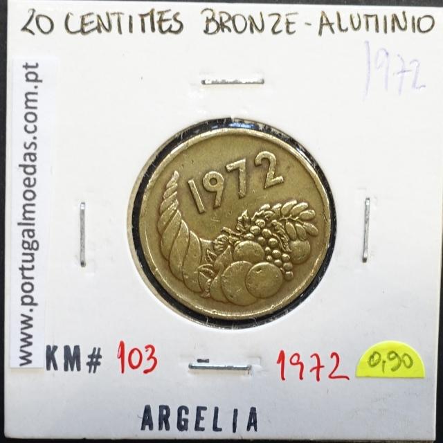MOEDA DE 20 CÊNTIMOS BRONZE ALUMÍNIO 1972 - ARGÉLIA - KRAUSE WORLD COINS ALGERIA KM 103