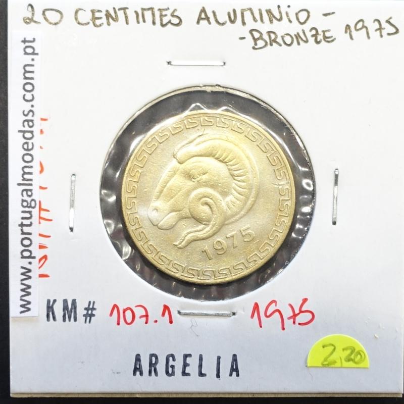 MOEDA DE 20 CÊNTIMOS BRONZE ALUMÍNIO 1975 - ARGÉLIA - KRAUSE WORLD COINS ALGERIA KM 107.1