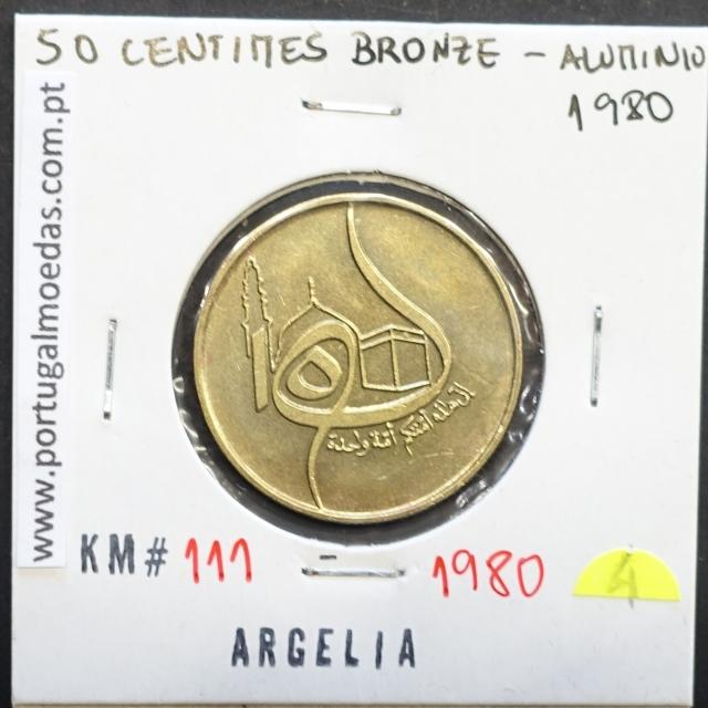 MOEDA DE 50 CÊNTIMOS BRONZE ALUMÍNIO 1980 - ARGÉLIA - KRAUSE WORLD COINS ALGERIA KM 111