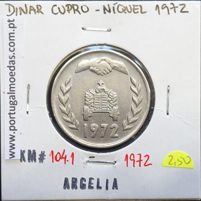 MOEDA DE DINNAR CUPRO-NIQUEL 1972 - ARGÉLIA - KRAUSE WORLD COINS ALGERIA KM 104.1