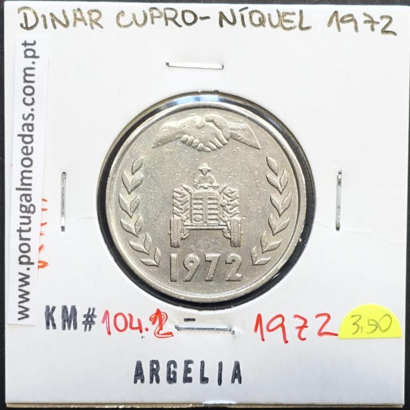 MOEDA DE DINAR CUPRO-NÍQUEL 1972 - ARGÉLIA - KRAUSE WORLD COINS ALGERIA KM 104.2