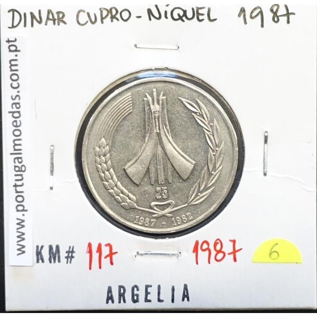 MOEDA DE DINAR CUPRO-NÍQUEL 1987 - ARGÉLIA - KRAUSE WORLD COINS ALGERIA KM 117