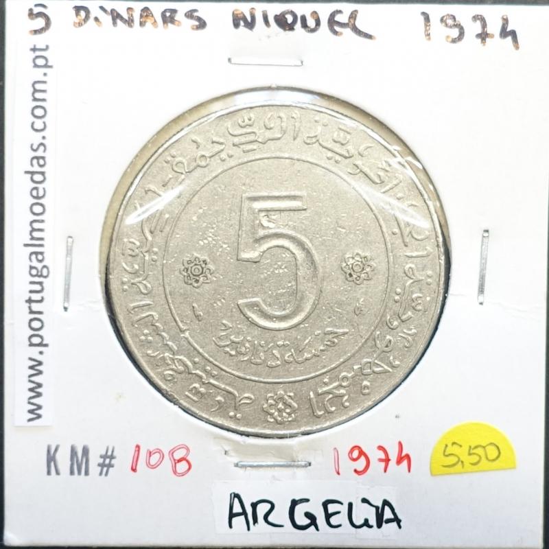 MOEDA DE 5 DINARS CUPRO-NÍQUEL 1974 - ARGÉLIA - KRAUSE WORLD COINS ALGERIA KM 108