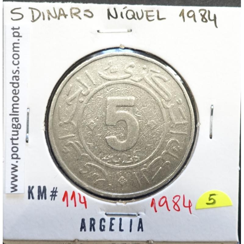 MOEDA DE 5 DINARS CUPRO-NÍQUEL 1984 - ARGÉLIA - KRAUSE WORLD COINS ALGERIA KM 114