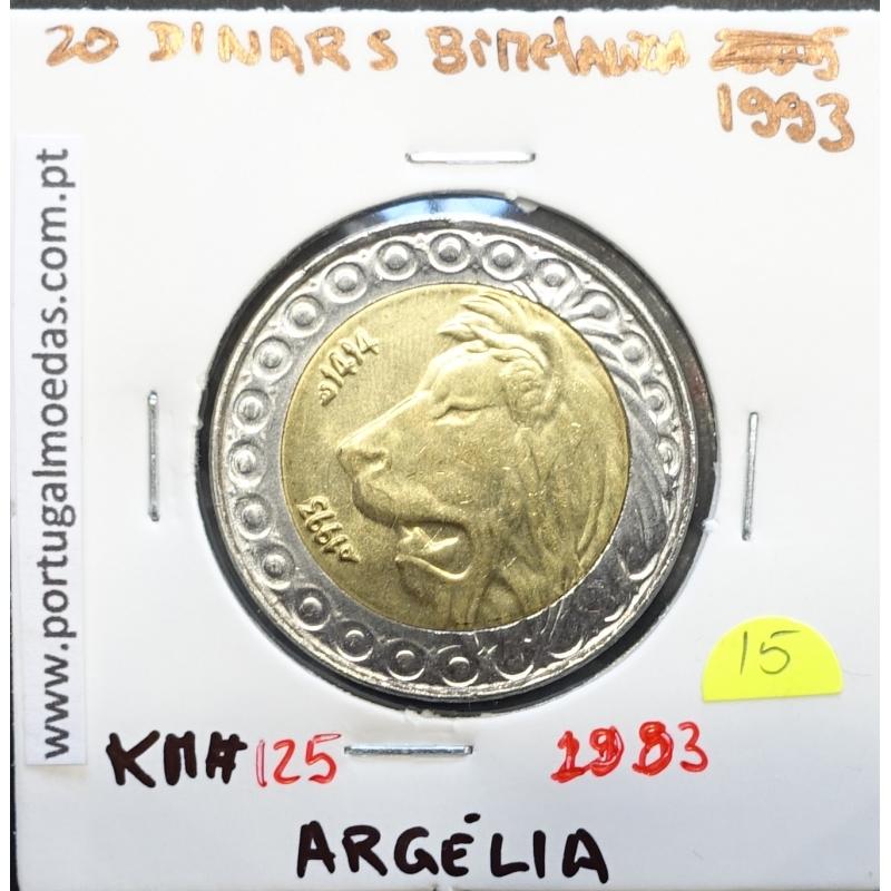MOEDA DE 20 DINARS BIMETALICA 1993 - ARGÉLIA - KRAUSE WORLD COINS ALGERIA KM 125