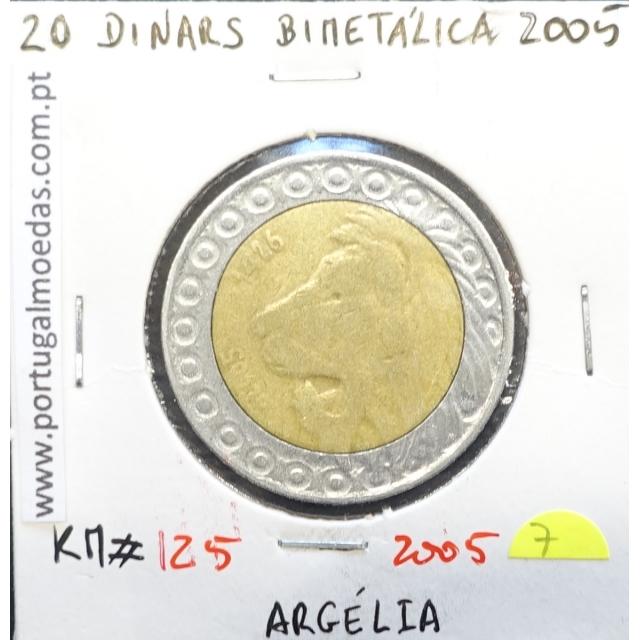 MOEDA DE 20 DINARS BIMETALICA 2005 - ARGÉLIA - KRAUSE WORLD COINS ALGERIA KM 125
