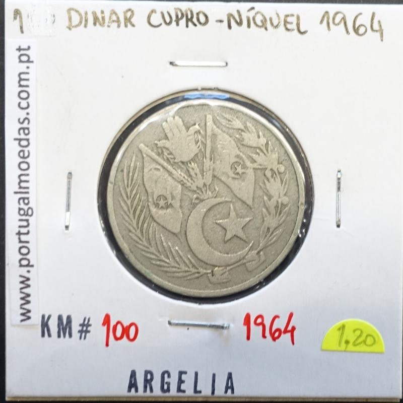 MOEDA DE 1 DINAR CUPRO-NIQUEL - ARGÉLIA - KRAUSE WORLD COINS ALGERIA KM 100