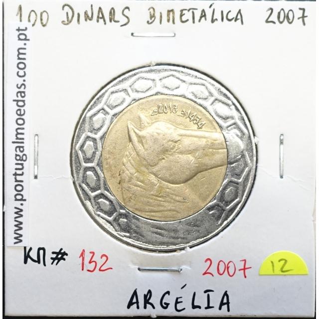 MOEDA DE 100 DINARS BIMETALICA 2007 - ARGÉLIA - KRAUSE WORLD COINS ALGERIA KM 132