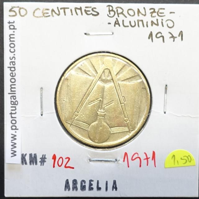 MOEDA DE 50 CÊNTIMOS BRONZE ALUMÍNIO 1971 - ARGÉLIA - KRAUSE WORLD COINS ALGERIA KM 102