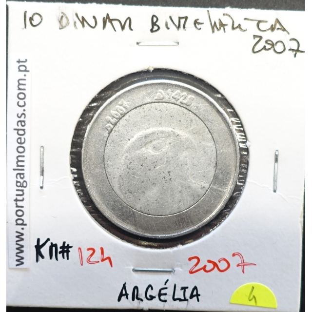 MOEDA DE 10 DINARS BIMETÁLICA 2007 - ARGÉLIA - KRAUSE WORLD COINS ALGERIA KM 124