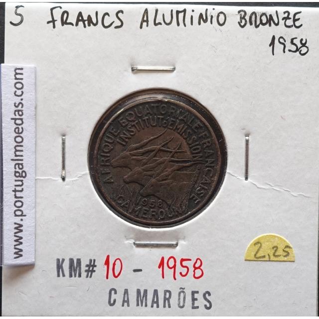 MOEDA DE 5 FRANCOS BRONZE-ALUMÍNIO 1958 - CAMARÕES - KRAUSE WORLD COINS CAMEROON KM 10