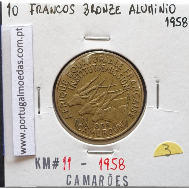 MOEDA DE 10 FRANCOS BRONZE-ALUMÍNIO 1958 - CAMARÕES - KRAUSE WORLD COINS CAMEROON KM 11