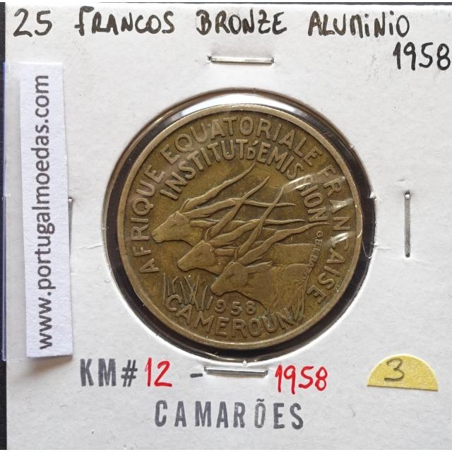 MOEDA DE 25 FRANCOS BRONZE-ALUMÍNIO 1958 - CAMARÕES - KRAUSE WORLD COINS CAMEROON KM 12
