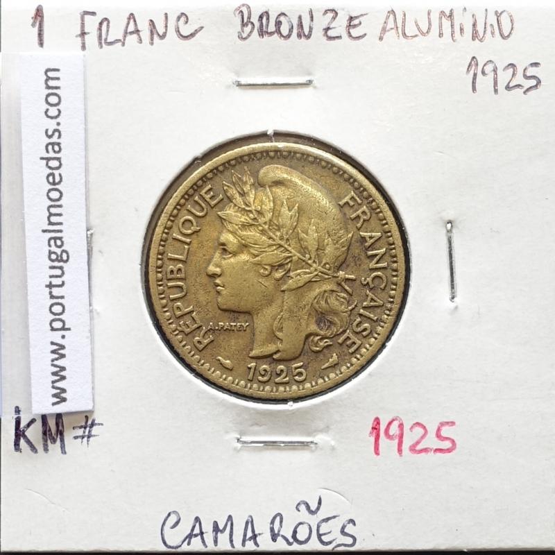 MOEDA DE 1 FRANC BRONZE ALUMÍNIO 1925 - CAMARÕES - KRAUSE WORLD COINS CAMEROON KM 2