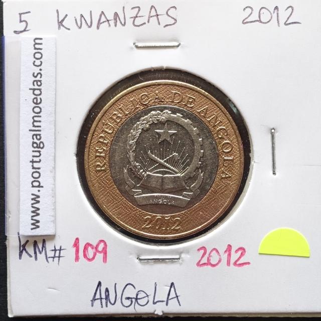 MOEDA DE 5 KWANZAS BIMETÁLICA 2012 REPÚBLICA POPULAR DE ANGOLA - KRAUSE WORLD COINS ANGOLA KM 109