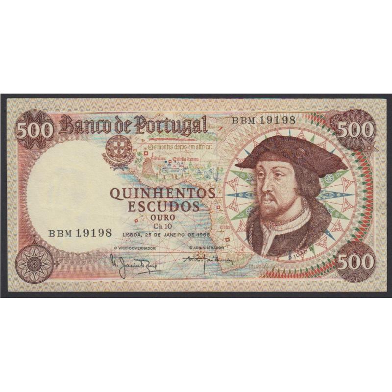 """NOTA DE 500 ESCUDOS 1966 ( NÃO CIRCULADA ) """"500$00 1966 Ch.10 D.JOÃO II - BANCO DE PORTUGAL (25/01/1966)"""